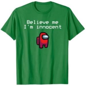 Camiseta manga corta hombre believe me i'm innocent con personaje rojo Among Us