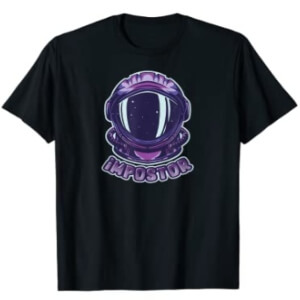 Camiseta manga corta hombre cara impostor con casco astronauta Among Us
