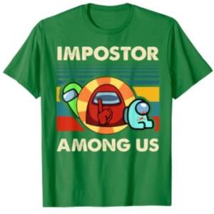 Camiseta manga corta hombre impostor con dos personajes Among Us
