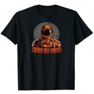 Camiseta manga corta hombre personaje con casco astronauta red is sus Among Us