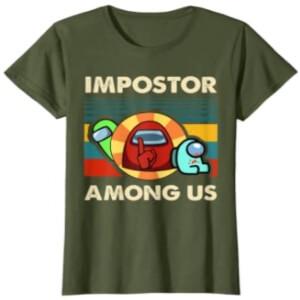 Camiseta manga corta mujer impostor con dos personajes Among Us