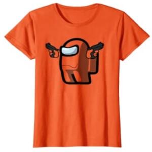 Camiseta manga corta mujer personaje con dos pistolas Among Us