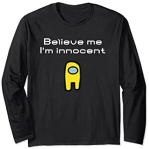 Camiseta manga larga believe me i'm innocent personaje amarillo Among Us