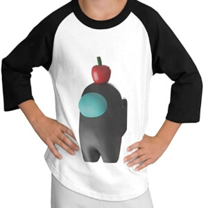 Camiseta manga larga personaje 3D gris con manzana Among Us
