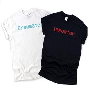 Camisetas manga corta crewmate y impostor Among Us