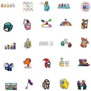 Cincuenta pegatinas con muchos personajes Among Us
