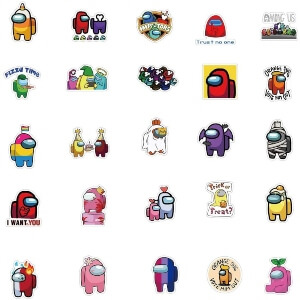 Cincuenta pegatinas con varios personajes Among Us