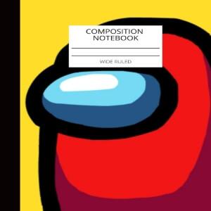 Cuaderno composition personaje rojo con fondo amarillo Among Us