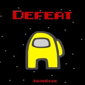 Cuaderno defeat personaje amarillo Among Us