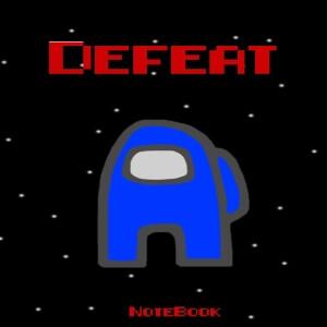 Cuaderno defeat personaje azul Among Us