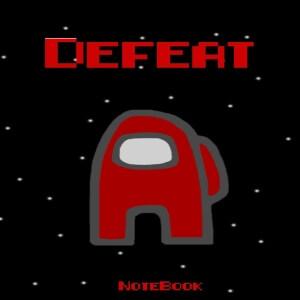 Cuaderno defeat personaje rojo Among Us