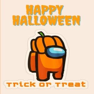 Cuaderno happy Halloween, trick or treat con personaje naranja con calabaza en la cabeza Among Us
