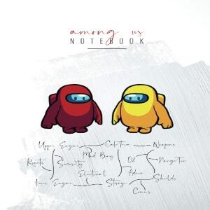 Cuaderno personaje amarillo y rojo Among Us