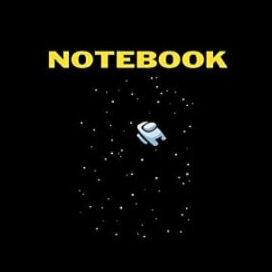 Cuaderno personaje blanco en el espacio Among Us