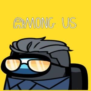Cuaderno personaje con gafas y traje azul Among Us