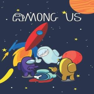 Cuaderno personaje morado y amarillo con cadáver personaje azul y fantasma en el espacio Among Us