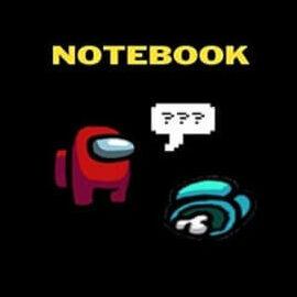 Cuaderno personaje rojo con cadaver Among Us