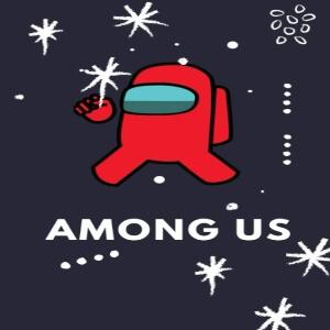 Cuaderno personaje rojo con decoración navideña y copos de nieve Among Us