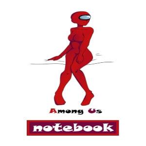 Cuaderno personaje rojo con forma humana anime chica Among Us