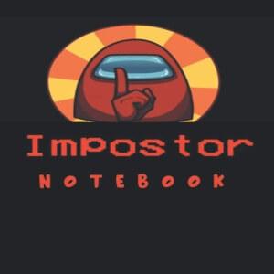 Cuaderno personaje rojo con letras impostor Among Us