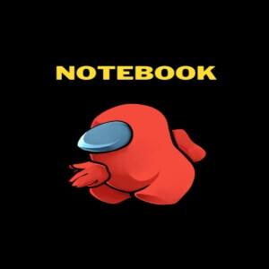 Cuaderno personaje rojo con manos Among Us