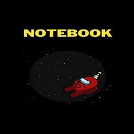 Cuaderno personaje rojo con manos de celebracion Among Us