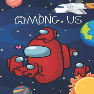 Cuaderno personaje rojo con personajes rojos pequeños en el espacio Among Us