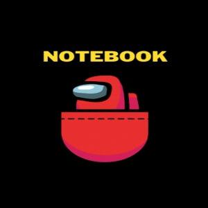 Cuaderno personaje rojo en un bolsillo Among Us