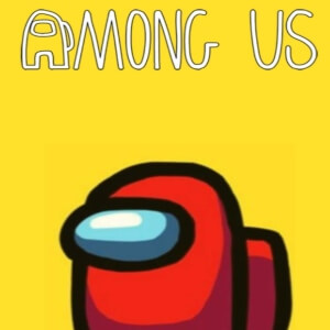 Cuaderno personaje rojo fondo amarillo Among Us