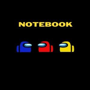 Cuaderno personajes azul rojo y amarillo Among Us