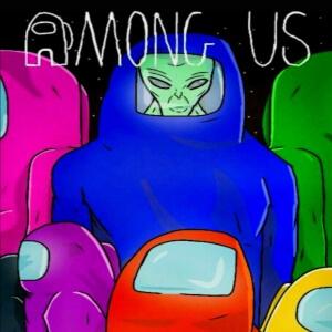 Cuaderno personajes con alien Among Us