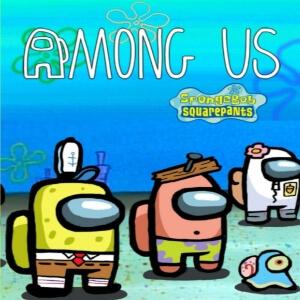 Cuaderno personajes de Bob esponja caracterizados como los de Among Us