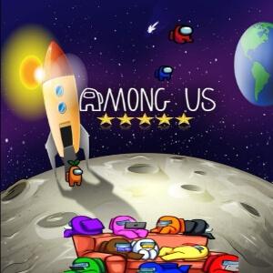 Cuaderno personajes en el espacio con cohete y otros personajes en el sofa Among Us