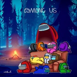 Cuaderno personajes en el sofá en un bosque con una hoguera Among Us