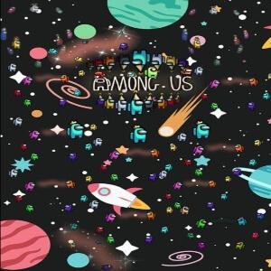 Cuaderno personajes pequeños en el espacio Among Us