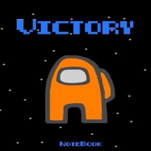 Cuaderno victory personaje naranja Among Us
