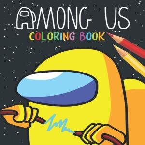Libro para colorear personaje amarillo con cable electrico Among Us