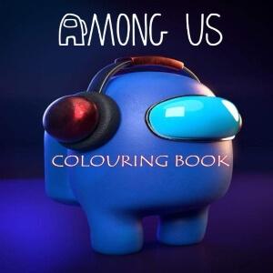 Libro para colorear personaje azul con auriculares Among Us