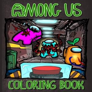 Libro para colorear personaje azul matando a personaje rosa y personaje naranja haciendo tareas con boton en primer plano Among Us