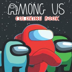 Libro para colorear personaje azul, rojo y verde en el espacio Among Us