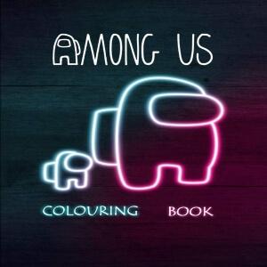 Libro para colorear personaje con personaje pequeño Among Us