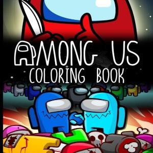 Libro para colorear personaje rojo con cuchillo con personaje azul y celeste y cadaveres Among Us