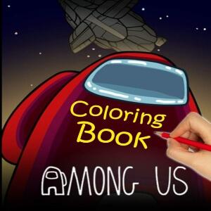 Libro para colorear personaje rojo con mano pintando Among Us