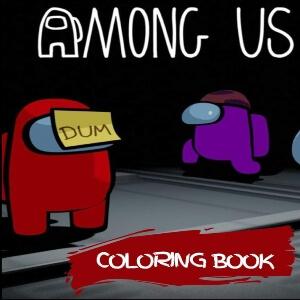 Libro para colorear personaje rojo con nota pegada a la cara y personaje morado Among Us