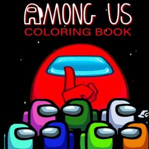 Libro para colorear personaje rojo gigante con todos los otros personajes Among Us