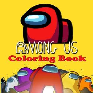 Libro para colorear personaje rojo grande y otros personajes con fondo amarillo Among Us