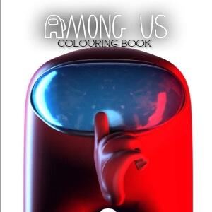 Libro para colorear personaje rojo realista con mano Among Us