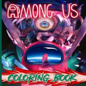 Libro para colorear personaje rojo realista con personaje alien realista Among Us