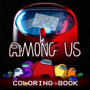Libro para colorear personaje rojo realista y gigante con todos los otros personajes Among Us