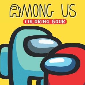 Libro para colorear personaje rojo y azul con fondo amarillo Among Us